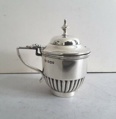 Nice Circular Antique Solid Silver Mustard Pot.    M. & Webb.    Sheffield.1896.