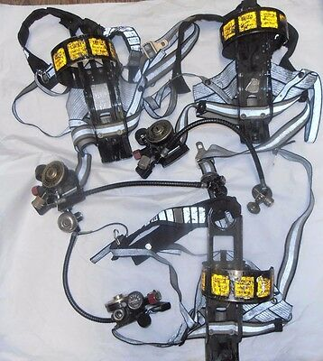 Lot of 3 MSA Air Tank Harness Ultralite II With Regulator For Parts (E5)