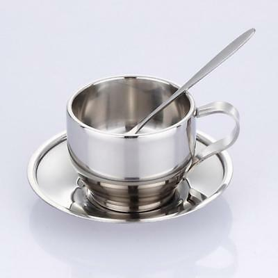 Stainless Steel Coffee Cup Tea Mug Double Wall Saucer Set Drinking Tumbler Spoon