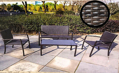 4 Piece Rattan Garden Furniture Set Chairs Sofa Table Outdoor Patio Conservator