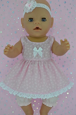 "Play n Wear Doll Clothes To Fit 17"" Baby Born BUTTERFLY DRESS~BLOOMERS~HEADBAND"
