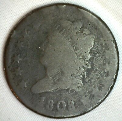 1808 Classic Head Copper Large Cent Early Penny Type Coin S279 Variety AG M1