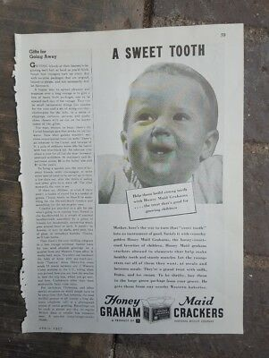 1937 Print ad-Honey Maid Graham Crackers-Sweet Tooth-National Biscuit Co-Nabisco
