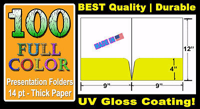 "100 CUSTOM PRESENTATION FOLDERS | 9"" x 12"" 