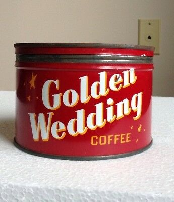 Vintage 1950's Or 1960's Golden Wedding Coffee Can 1# Kansas City