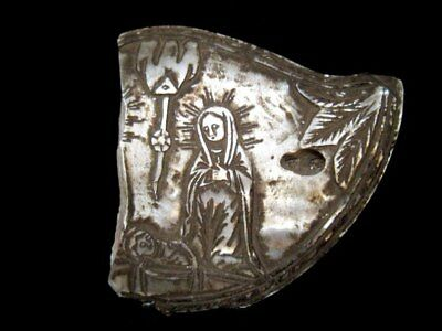 Beautiful Medieval Period Hand Carved Mother Of Pearl Mount, Virgin Mary+++
