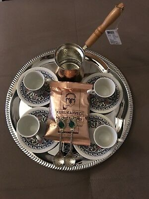 turkish coffee cup set with tray and coffee top