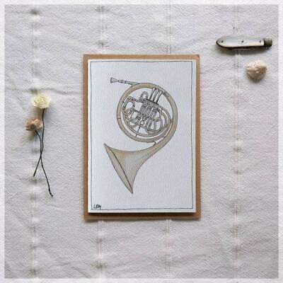French Horn ~ Gift Card featuring Watercolour & Ink Illustration by Stephanie...