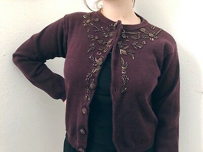 Vintage Cardigan -Small- Thats Me!- Maroon Sweater- Beaded