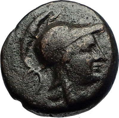 PERGAMON in MYSIA 150BC Authentic Ancient Greek Coin ATHENA and TROPHY i69711