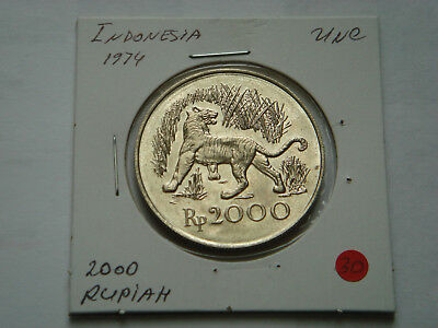 1974 INDONESIA Silver (25.65g.,.500 Silver) 2,000 Rupiah in UNC Condition.