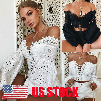 US STOCK Womens Summer Off Shoulder Shirt Long Sleeve Casual Blouse Lace Up Tops