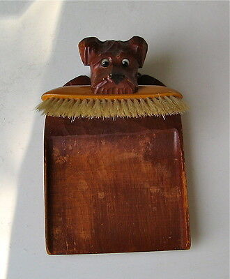 Vintage Lakeland Terrier Wood Crumb Tray And Brush