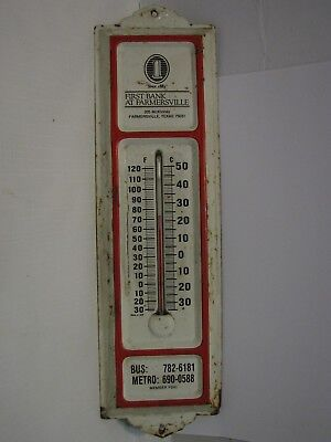 Advertising First Bank Farmersville Texas thermometer USA metal TX collectible