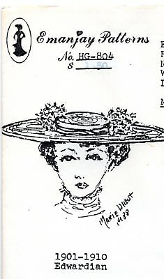 1:12 scale Emanjay Dollhouse Doll Hat pattern #HG801 Gibson Girl Hat//uncut