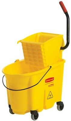 Rubbermaid Commercial Products WaveBrake 35 Qt. Plastic Mop Bucket with Wringer