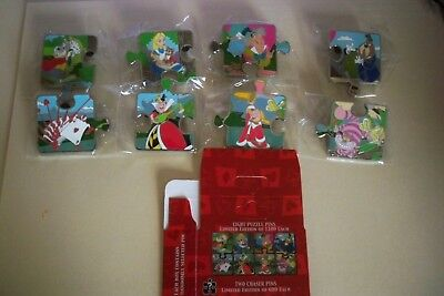 Disney Alice In Wonderland Character Connection Puzzle 10PC Pin Set w/ Boxes
