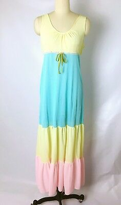 60's Vtg Colorblock Pastel Nightgown Nightie, Nylon Tricot Kitsch Cute! Sz S