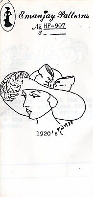 1:12 scale Emanjay Dollhouse Doll Hat pattern #H902 Early 1920/'s Eve Hat //uncut