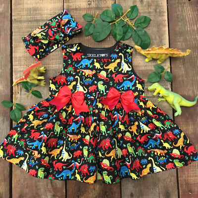 UK Newborn Kids Baby Girl Summer Sleeveless Dinosaur Bowknot Party Dress Clothes