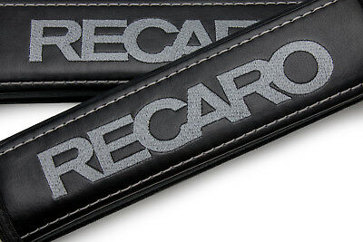RECARO Gray Embroidery Leather Shoulder Pads Seat Belt Covers Travel Logo Emblem