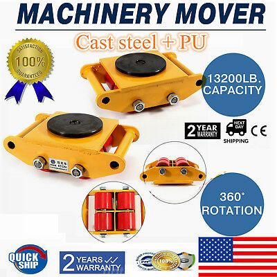 Machinery Mover Roller Dolly Skate w/Rotation Cap 13200lbs 6T 13K pd Swivel Top