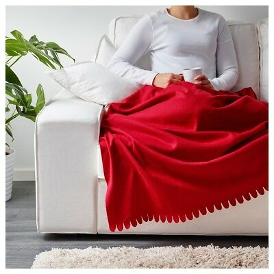 IKEA POLARVIDE Bed Couch Sofa Knee Fleece Throw Rug Blanket 130 x 170 cm in Red