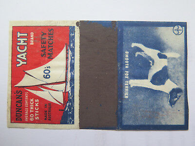 DUNCAN'S 60's YACHT MATCHBOX LABEL AUSTRALIA DOGS c1940s SMOOTH FOX TERRIER