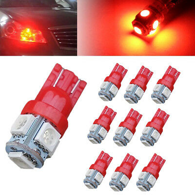 10x T10 5 SMD Wedge LED Red Super Bright Car Lights Bulb W5W 194 168 2825