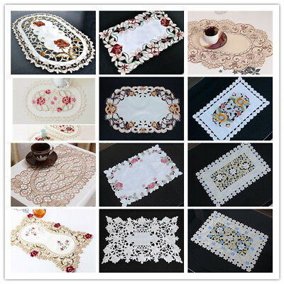 Dining Table Place Mat Vintage Embroidered Lace Fabric Placemat 12x17inch Floral