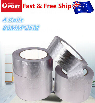 4 Rolls Reinforced 80MM*25M Aluminium Foil Tape Insulation Heating Duct
