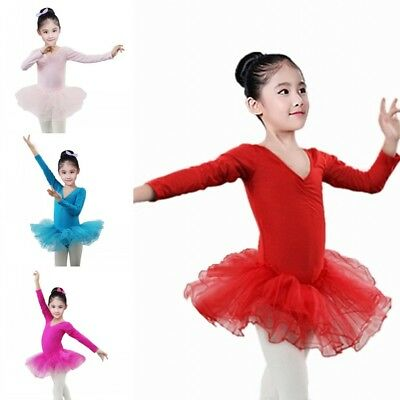 US Kid Girl Long Sleeve Ballet Dance Tutu Dress Dancewear Gymnastics Leotard