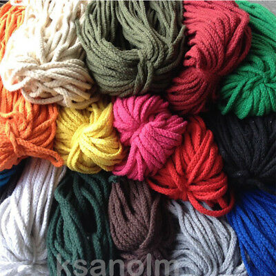 5/6mm Macrame Natural Cotton Rope Twisted Cord Artisan String Color Hand Craft