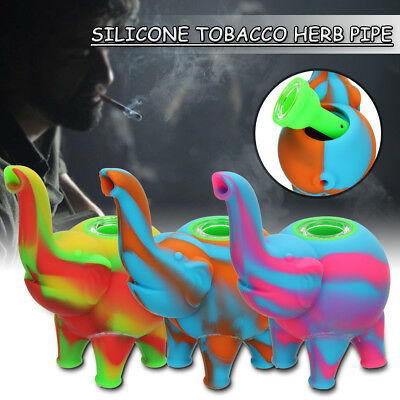 Colorful Silicone Tobacco Herb Pipe Glass Water Smoking Pipes Little Elephant
