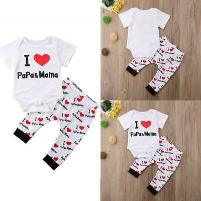Newborn Baby Girls Outfit Clothes Romper Jumpsuit Bodysuit Pants Hat mother day