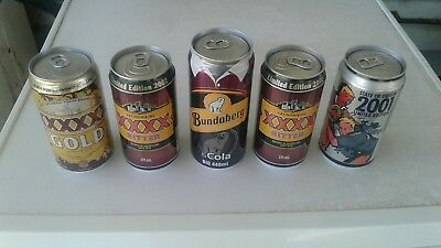 5 vintage queensland state of origin beer cans and bundy rum .limited edition