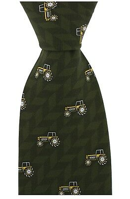 Soprano luxury green silk tie with yellow tractors for farmers / John Deere IH