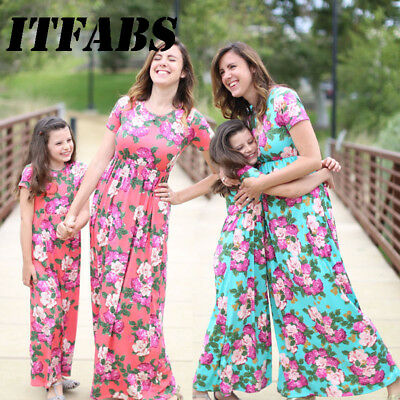Family Dress Mother and Daughter Matching Floral Womens Girls Long Maxi Dresses