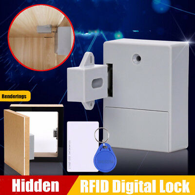 2x Battery RFID Cabinet Drawer Lock Hidden Digital Lock without Perforate Hole