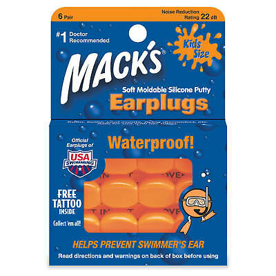 Mack's Kids Size Soft Moldable Silicone Ear Plugs (6 Pairs)