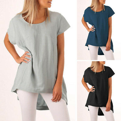UK 8-24 ZANZEA Women Summer Crewneck Short Sleeve Casual Tee Tops T-shirt Blouse