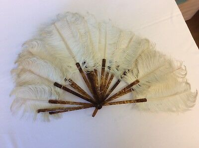 VINTAGE WHITE OSTRICH FEATHER FAN WITH TORTOISE SHELL LOOK HANDLE (ref 8) g
