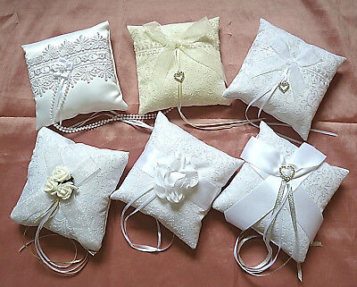 "wedding ring pillow, 7 styles to select from. All 6"" square Wedding ring cushion"