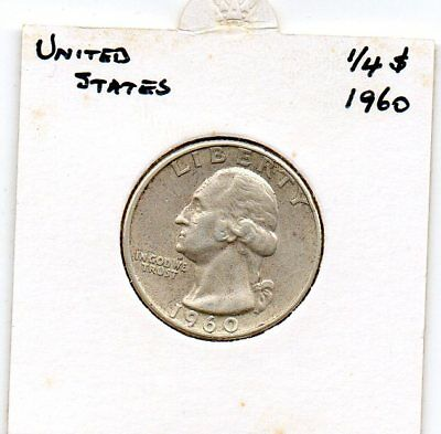 United States 1960 Silver Quarter  F condition