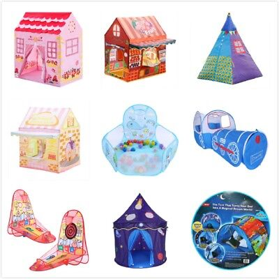 Kids Pop Up Play Tent Prince Princess Castle Playhouse Tunnel Ocean Ball Pool US