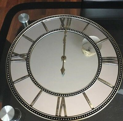 Large Vintage Brass Antique Mirrored Roman Numerals Round Wall Clock Home Decor