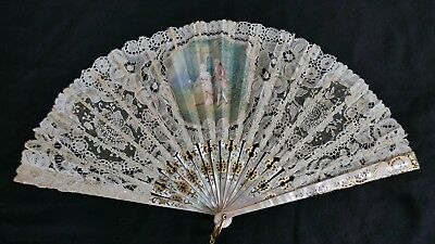 Antique 19th Century French Mother of Pearl Silk and Lace Fan