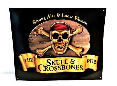 Pirate Skull & Crossbones Pub Bar Tin Sign Strong Ales Loose Women ~Reproduction