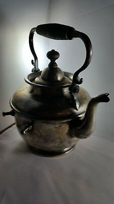 RARE ANTIQUE 1895 STERLING SILVER TEAPOT,  Wood Rope Handle!