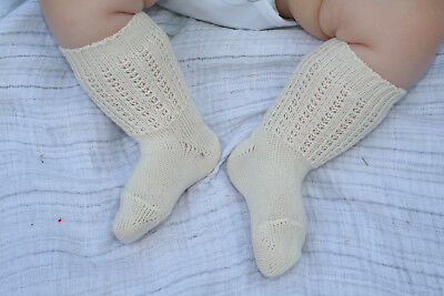 Pretty white baby knee socks for Christening/ special occasion. 3-6 months
